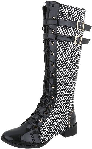Ital Design Damenschuhe Stiefel Schnürstiefel