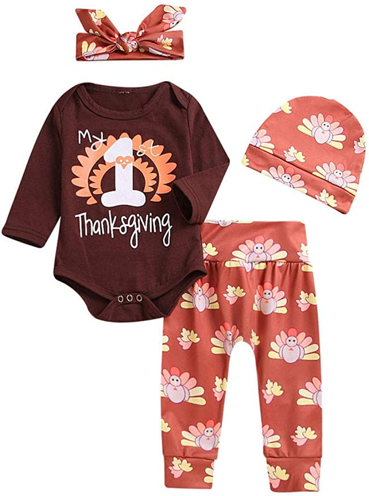 Christmas Baby Outfits,Fineser 4Pcs Baby Kids Infant My 1st Thanksgiving Print Romper+Pants+Headbands+Hat Set Clothes 3-24M