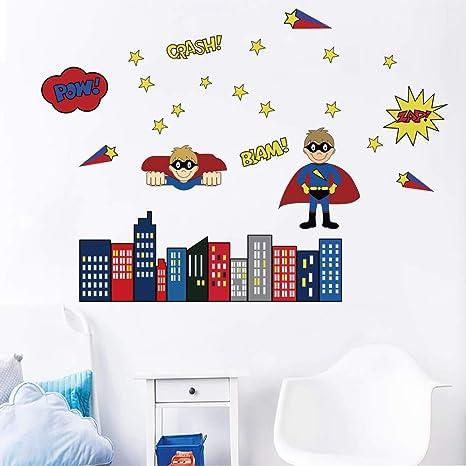 Beau Decalmile Stickers Muraux Super Héros Enfant Autocollants Mural Chambre  Bébé Garcon Chambre Enfant Décoration Murale