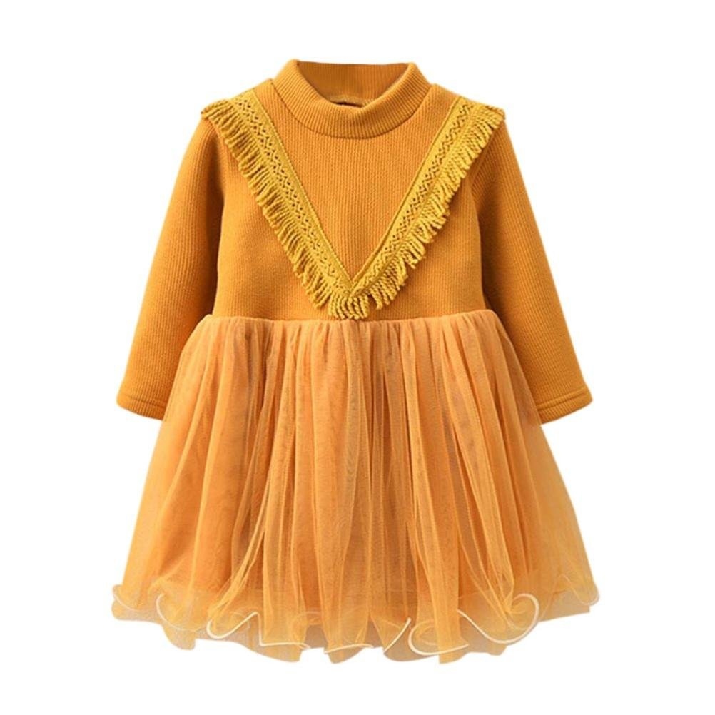 Suma-ma Toddler Girls Long Sleeve Thick Plus Velvet Mesh Splicing Party Dress (7 Years Old, Yellow)