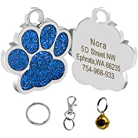 Didog Bling Bling Paw Print Pet ID Tags for Small Dogs and Cats,Personalized Engraving,Blue