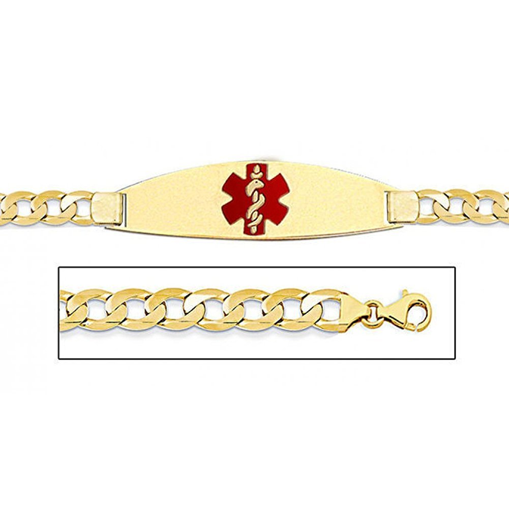PicturesOnGold.com 14K Gold Medical ID Bracelet W/Curb Chain with Enamel - 7 Inch WITH ENGRAVING