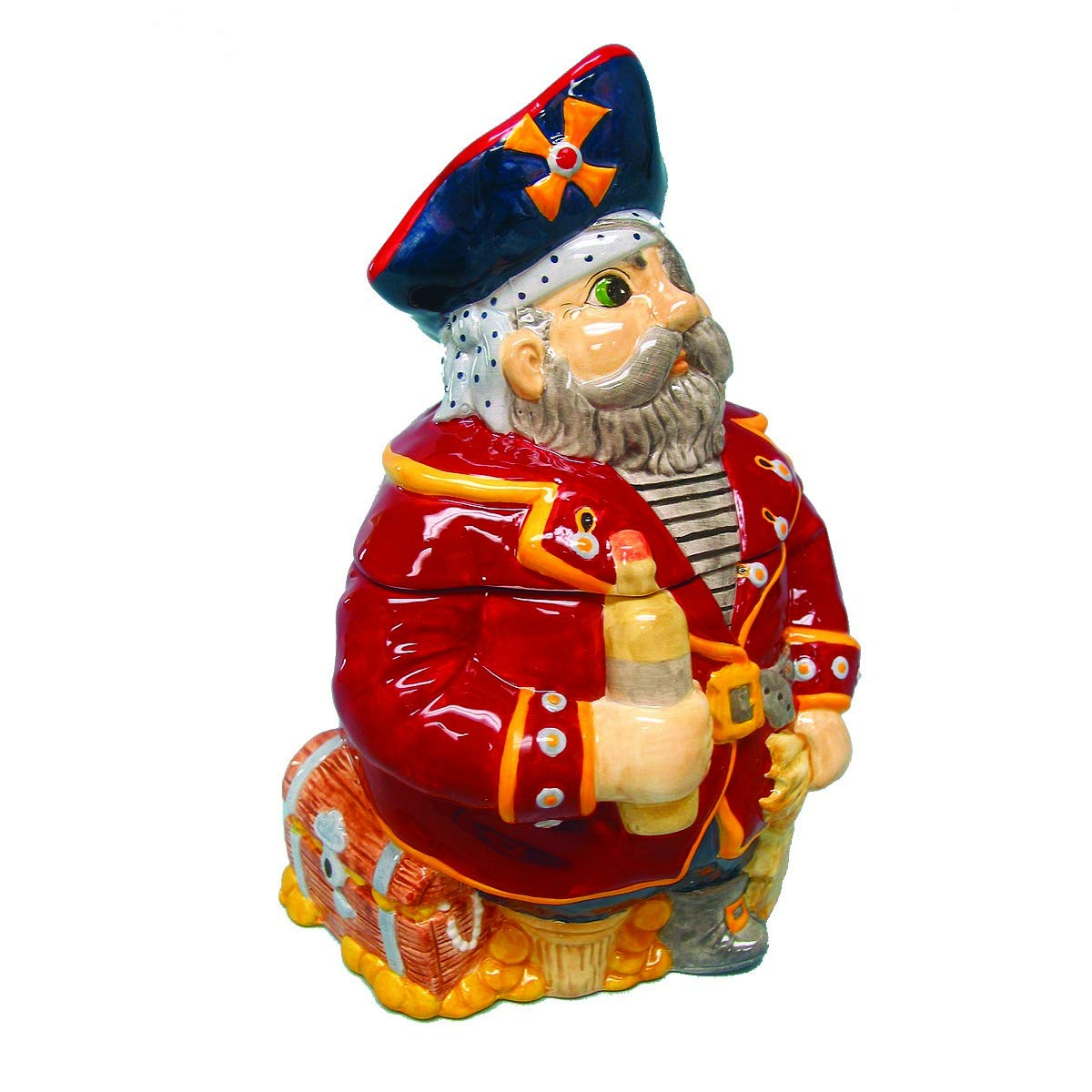 Hand Painted Ceramic Nautical Sea Pirate Gasparilla Cookie Jar