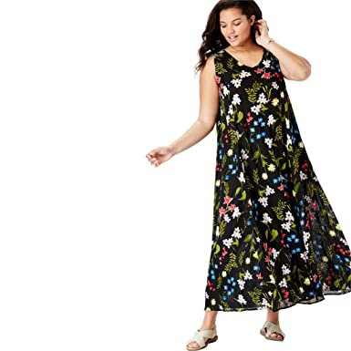 fafe876b670 Woman Within Women s Plus Size Petite Sleeveless Crinkle A-Line Dress - Black  Field Floral