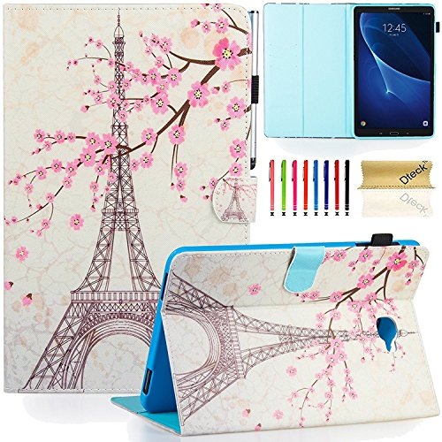 Dteck Case for Samsung Galaxy Tab A 10.1 - Dteck PU Leather Sleep/Wake Cover Case with [Card/Money Holder] Flip Folio Wallet Case Cover for Samsung Tab A 10.1 SM-T580/T585, Eiffel Tower
