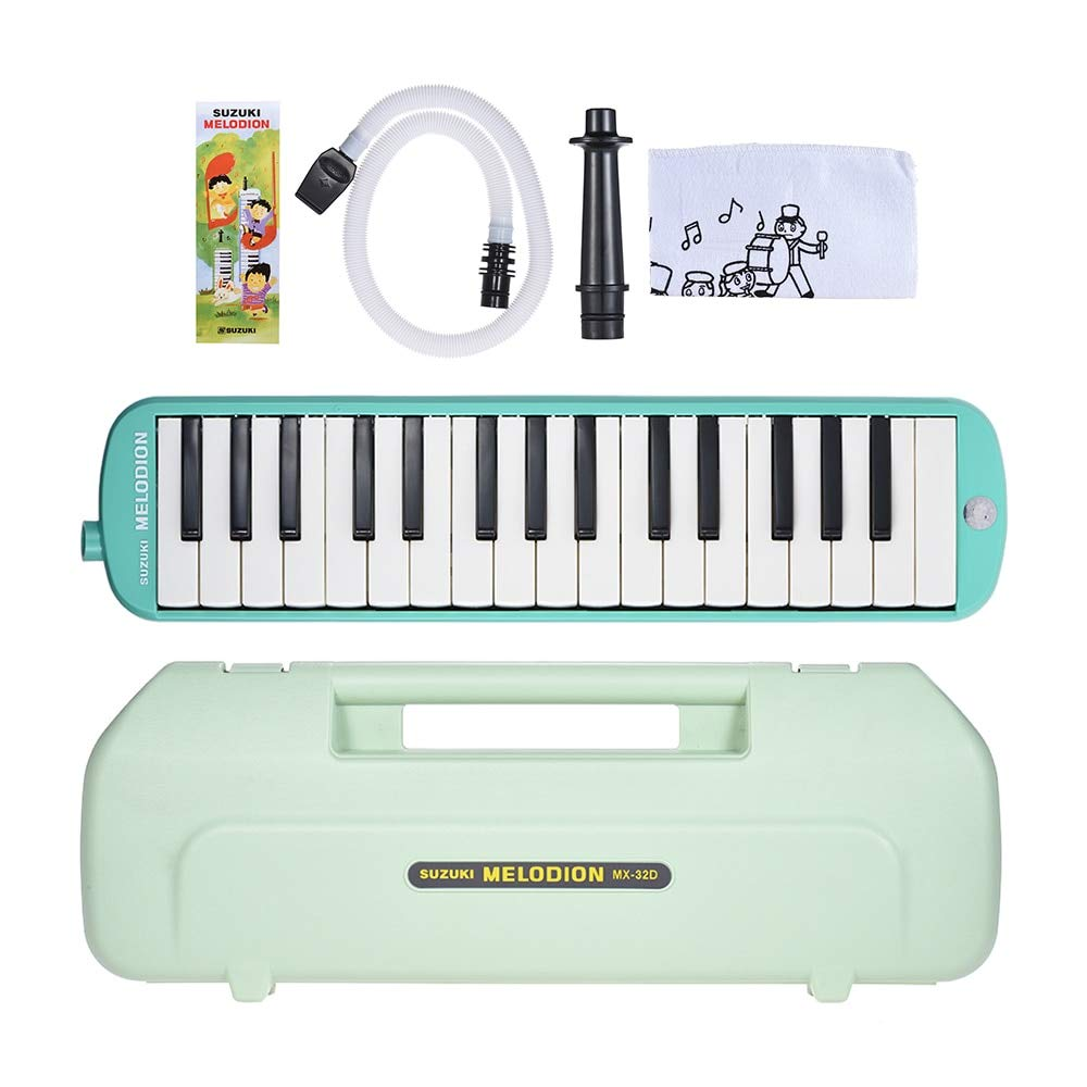 Bowbof - SUZUKI MX-32D Melodion Melodica Pianica 32 Piano Keys Musical Instrument with Long & Short Mouthpiece Hard Case
