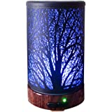 Ultrasonic Cool Mist Aromatherapy Diffuser Atomiser 100ml Capacity Metal Aroma Essential Oil Humidifier with Waterless Auto Shut-Off Protection,7 Colors Changed LED for Home,Office,SPA (Tree)