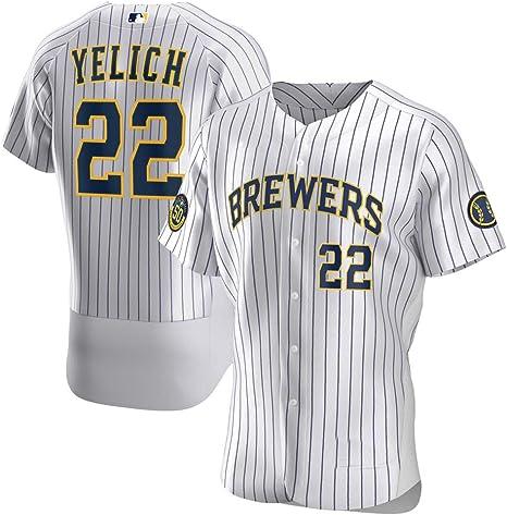 GMRZ MLB Jersey De Hombre, Camiseta con Milwaukee Brewers # 22 Yelich Logo Ropa Deportiva Equipo Béisbol De Grandes Ligas Manga Corta Verano Unisexo: Amazon.es: Deportes y aire libre