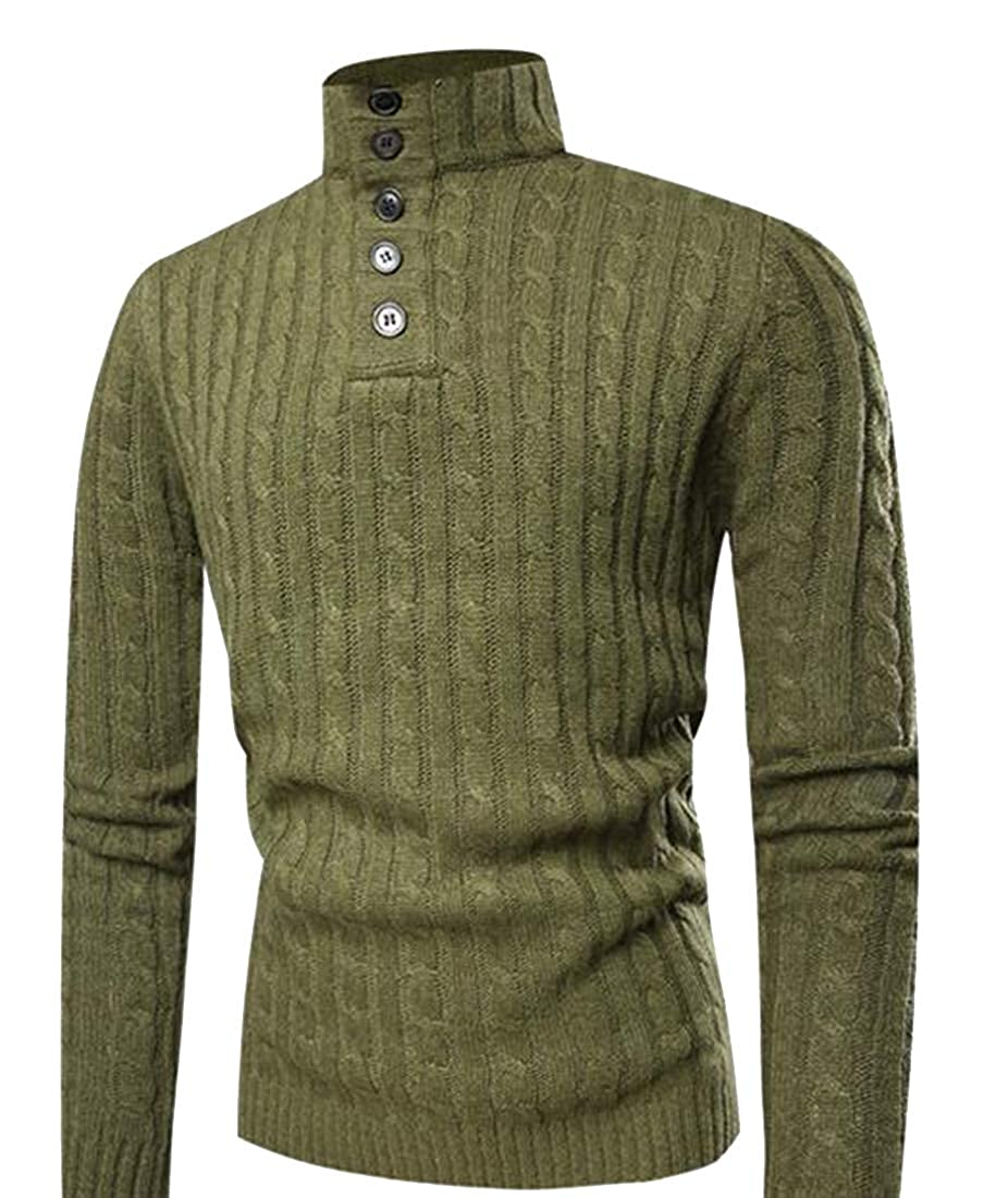 Fubotevic Mens Turtle Neck Twist Knitted Slim Button Up Pullover Sweater