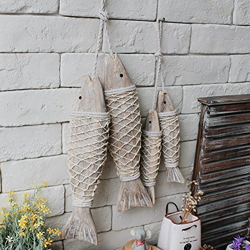 Olibay Hanging Wooden Fish Decorated Mediterranean Style