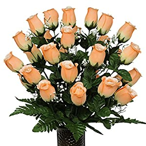 Peach Rose Artificial Bouquet, featuring the Stay-In-The-Vase Design(c) Flower Holder (MD1090) 79