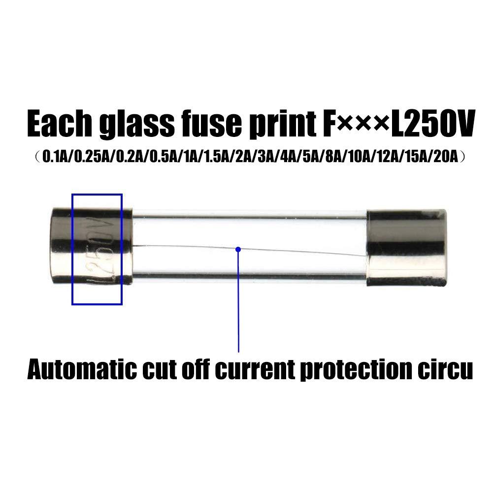 pezzi 5 x 20 mm assortimento 0.1A 0.25A 0.2A 0.5A 1A 1.5A 2A 3A 4A 5A 8A 10A 12A 15A 20A-150 Fusibili in vetro AMZSUPER ERA