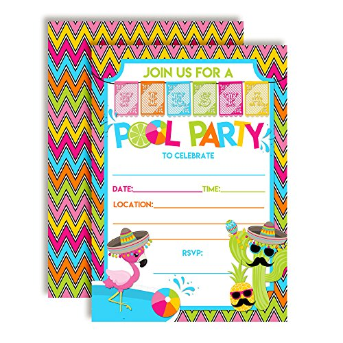 Fiesta Pool Party Birthday Party Invitations, 20 5