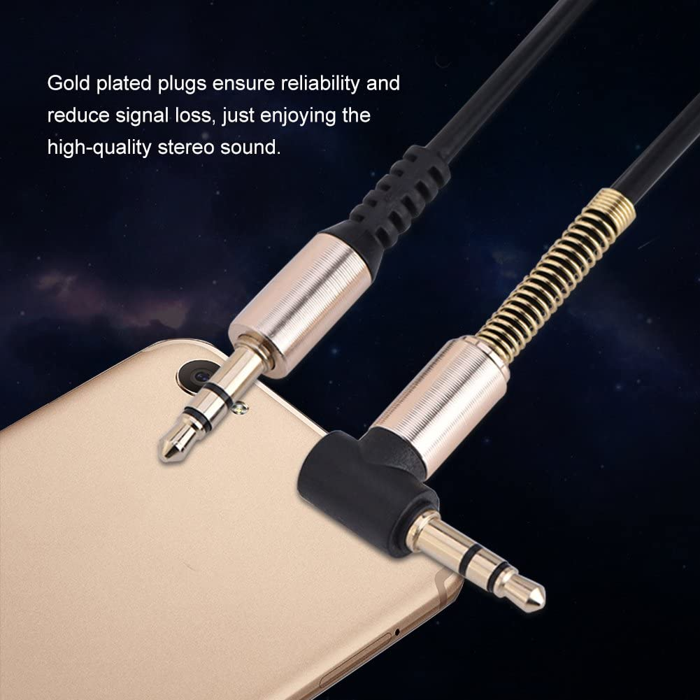 Richer-R 3.5mm Male to Male Spring Aux Cable L-Shaped /& I-Shaped Retractable Cord for Car Audio Earphone
