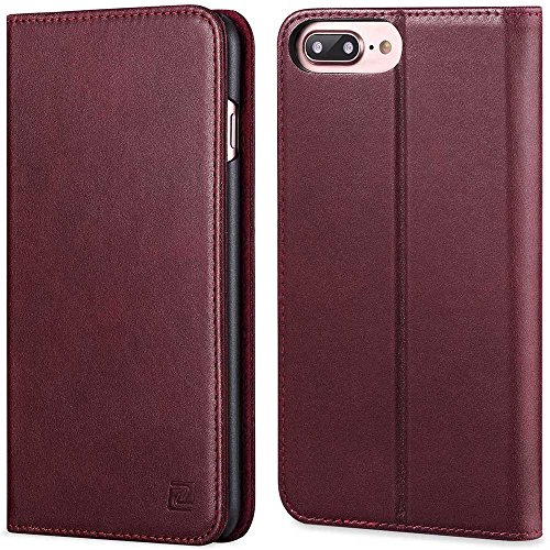 iPhone 7 Plus case ZOVER Genuine Leather Case Flip Folio Book Case Wallet Cover with Kickstand Feature Card Slots & ID Holder and Magnetic Closure for iPhone 7 Plus Wine (Folio Case)