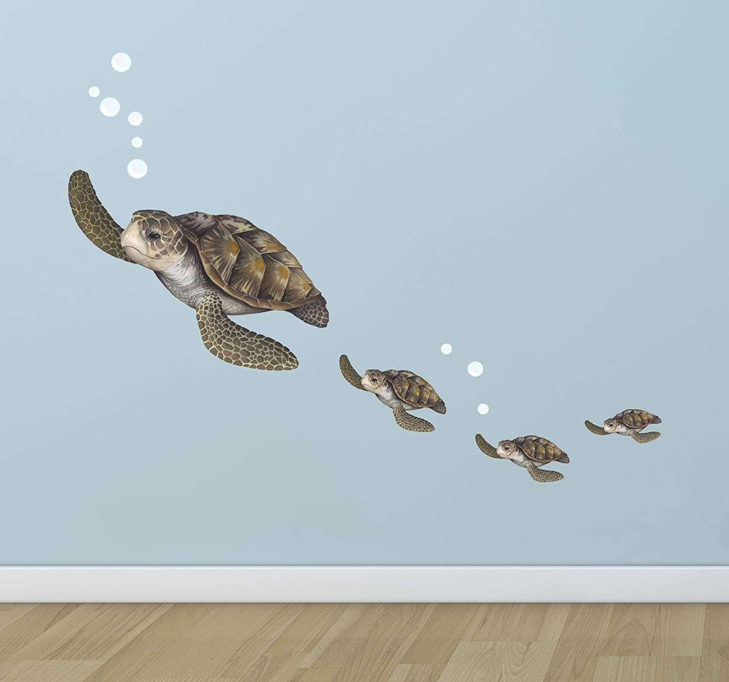 TURTLE ON BEACH BACKGROUND WALL STICKER ROOM DECORATION DECAL MURAL A CLASS