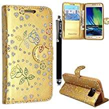 Samsung Galaxy S5 / S5 Neo Case, Kamal Star® Rose Gold Diamond Book Premium PU Leather Magnetic Case Cover + Stylus