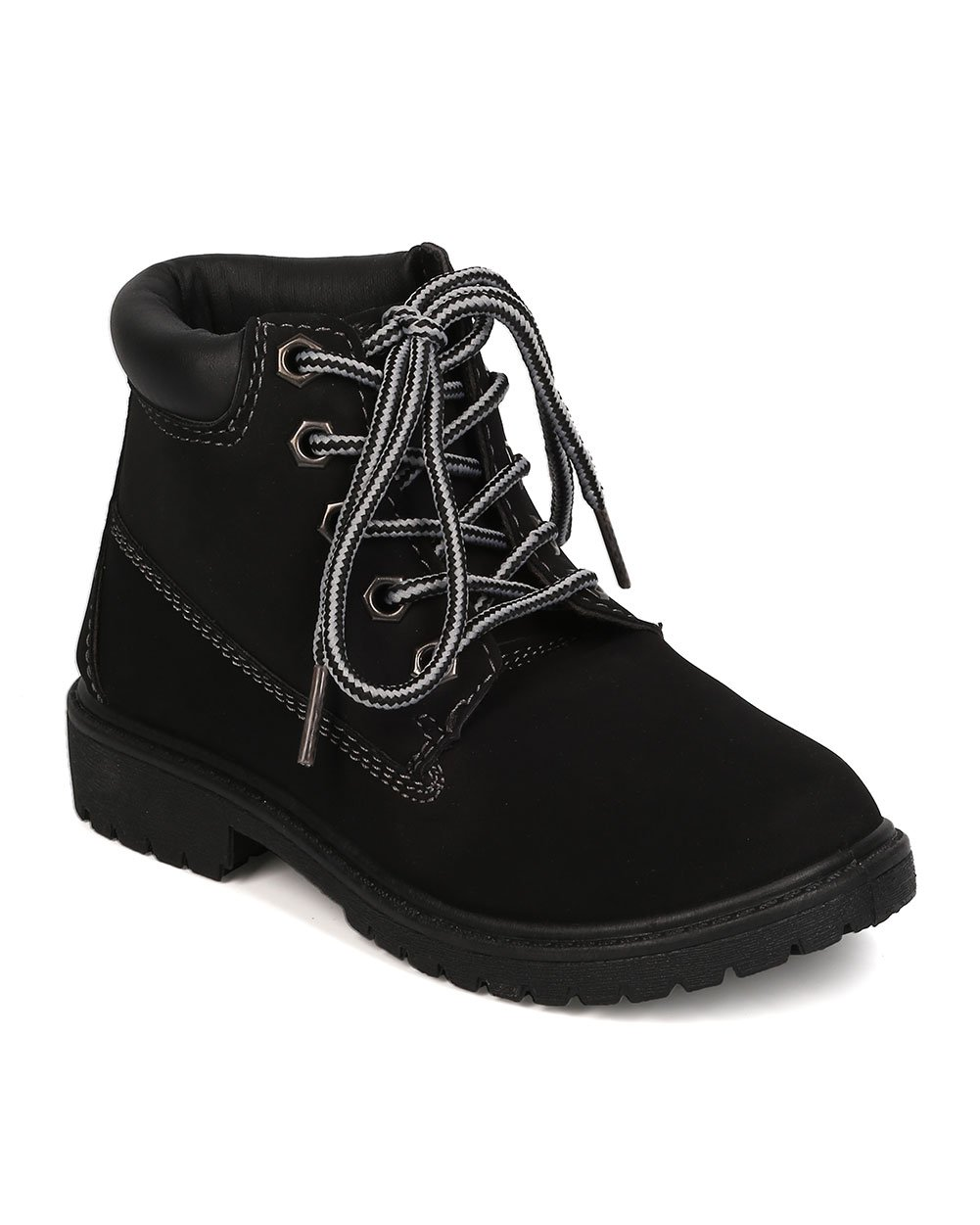 Nubuck Round Toe Lace Up Lug Sole All Weather Ankle Boot (Toddler/Little Girl/Big Girl) FA28 - Black (Size: Toddler 9) by Refresh (Image #1)