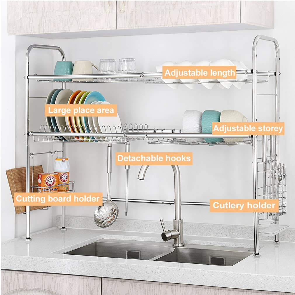 NEX 2-Tier Drying Rack for Kitchen Stainless Steel Dish Dryer Length Adjustable, Silver by NEX (Image #3)