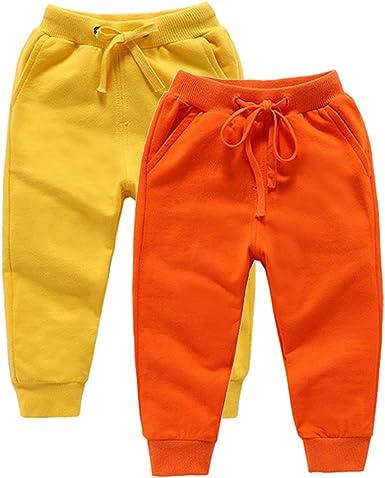 DQCUTE Pantalones Deportivos para Niños Niñas Pantalón Largos Elástico Cintura Pantalones de Chándal Joggers Algodón para Bebé 1-8 Años: Amazon.es: Ropa y accesorios