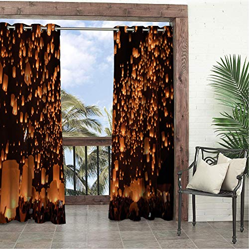 Balcony Waterproof Curtains Romantic Photo of Sky Lanterns at Night Firework Festival in Thailand Charcoal Grey and Pale Cinnamon Porch Grommets Parties Curtain 72 by 84 -