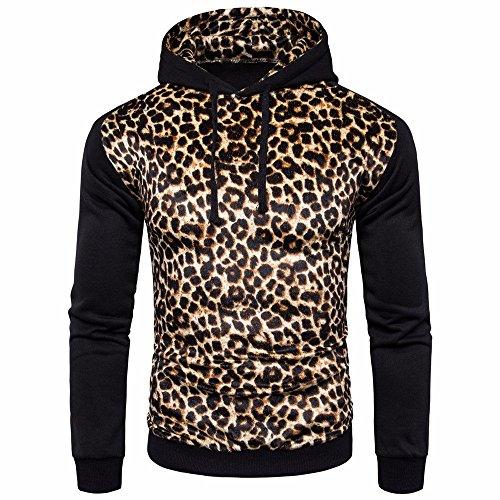Hot Sale !Charberry Mens Leopard Print Color British Coat Jacket Hoodie Long Sleeve Outwear (US-L/CN-XL, Black)