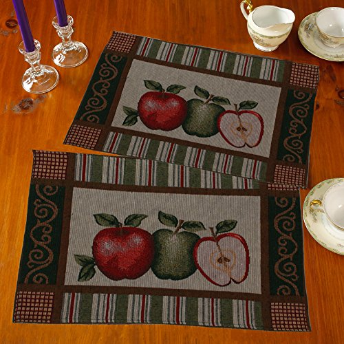 Gilbin Tapestry Table Placemats for Dinner Parties, Event Dcor Set of 4 Placemats Machine Washable (Appels)