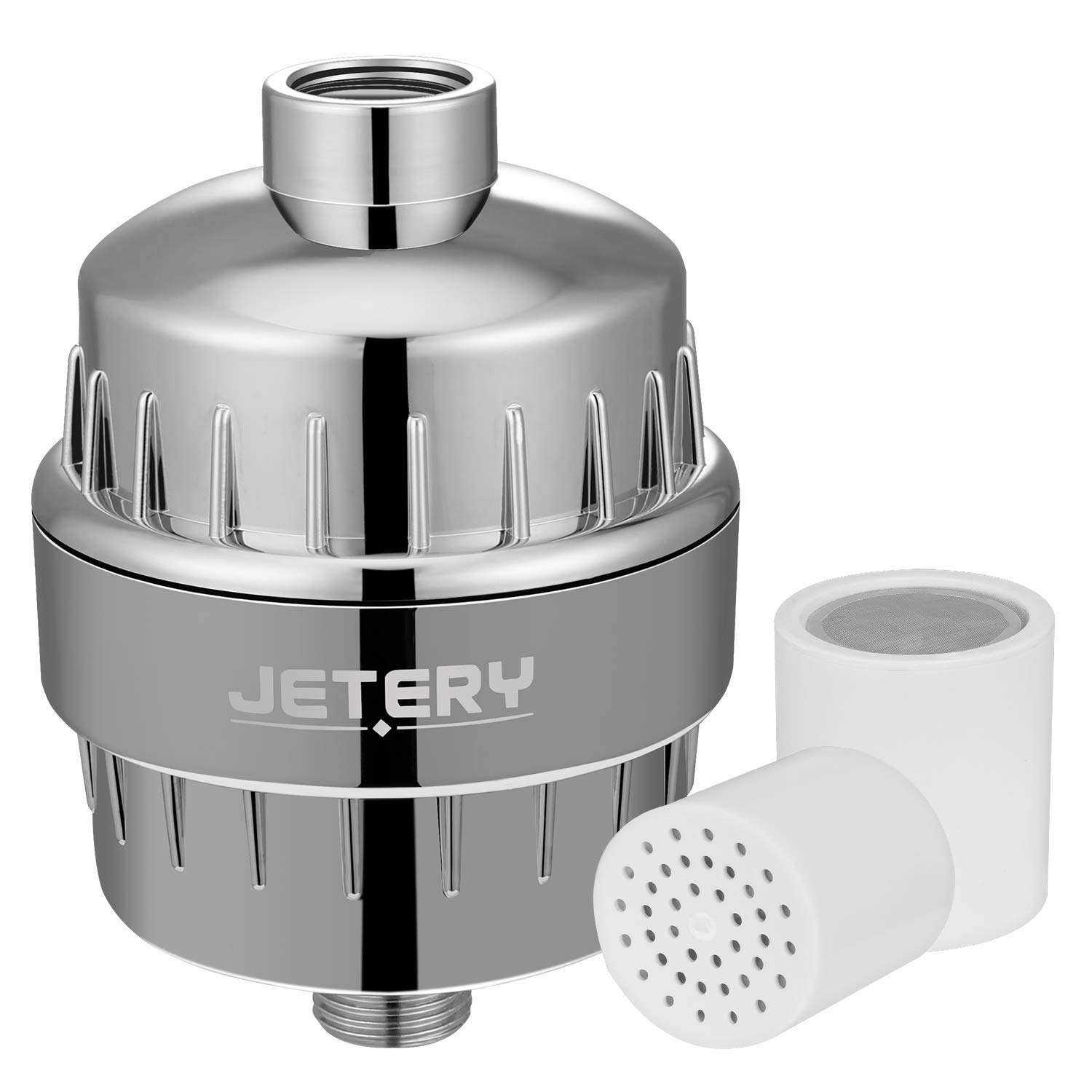 12 Stage Shower Water Filter for Hard Water, Shower Filter Removes Chlorine Universal Showerhead Filter High Output with 2 Replacement Cartridge Filters, Improves Your Hair, Skin and Nails, Chrome by JETERY