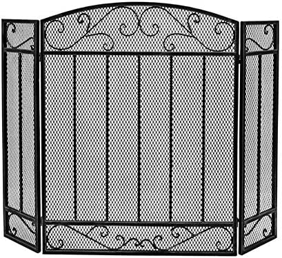 暖炉スクリーン MYL 暖炉、錬鉄暖炉スクリーンメッシュカバースパークガードとウッドバーニングアクセサリーの垂直バーと3パネルスクロールファイアースクリーン - ブラック (Color : Black)