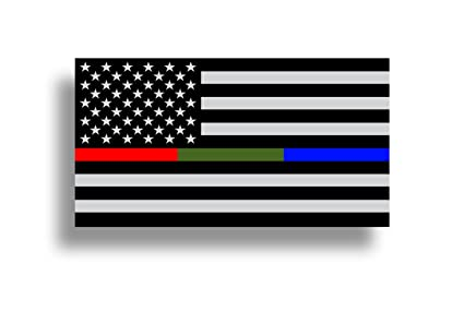 Police military and fire thin line usa flag american flag sticker blue green and red stripe