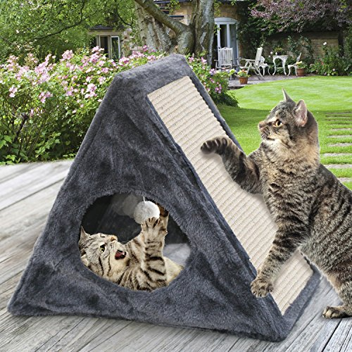 Cheap  Etna Indoor/Outdoor Foldable Cat Condo - Collapsible Plush Built-In Scratch Pad &..