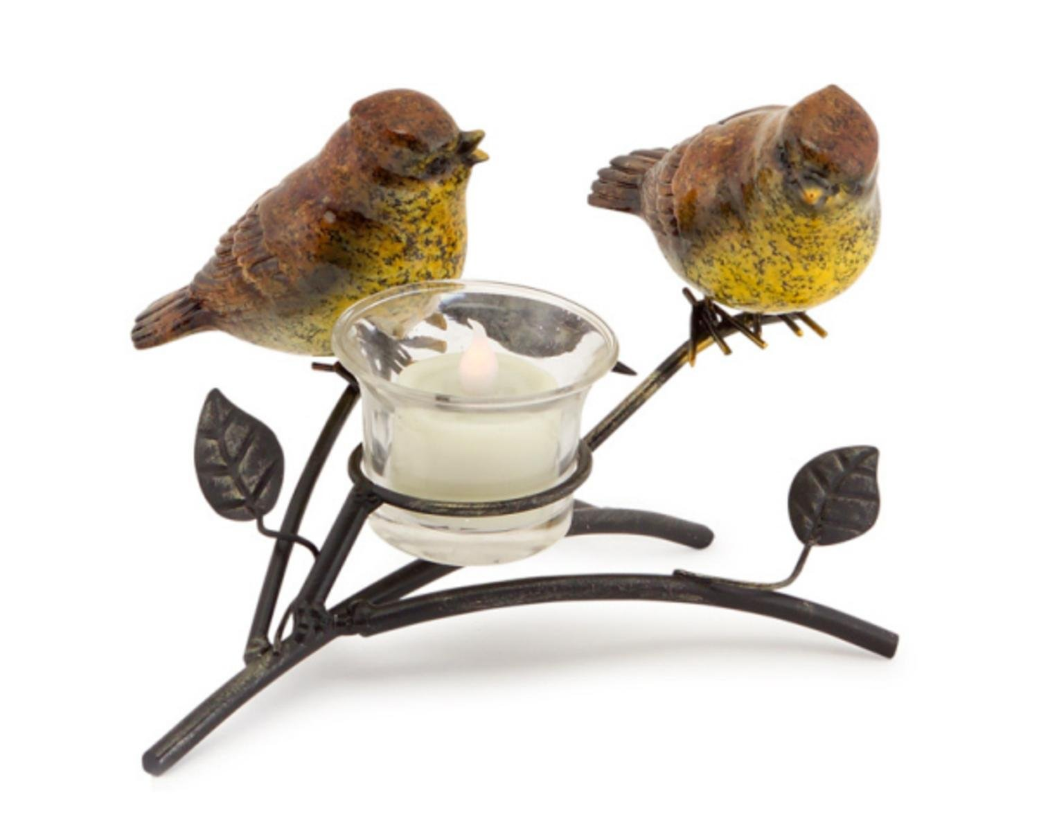 Melrose Set of 4 Brown and Yellow Decorative Birds on a Brown Branch with a Tea Light Holder 5'' H