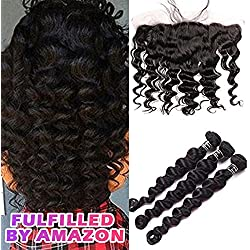 Star Show Hair Loose Wave with Frontal Malaysian Virgin Hair Bundles with Frontal Closure Pre Plucked Lace Frontal with Bundles 18 20 22 Hair Weft with 16 Inch Frontal Free Part Natural Color