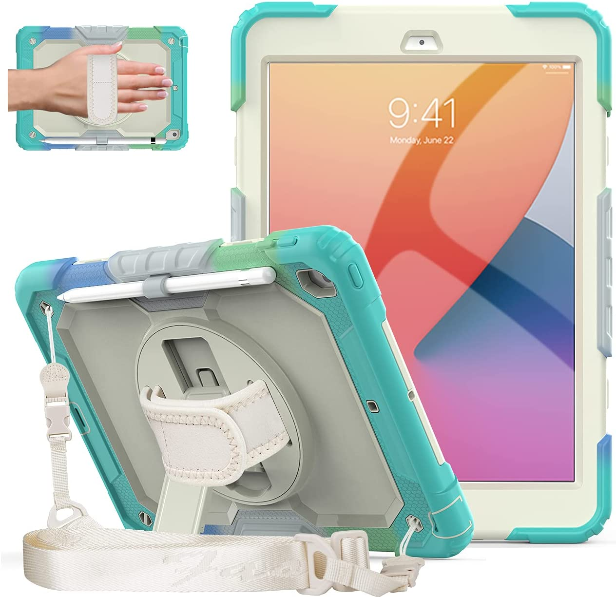 DUNNO iPad 8th/7th Generation Case, iPad 10.2 Case with Screen Protector, Heavy Duty Protective Case with 360° Rotating Kickstand & Shoulder Strap for iPad 8th/7th Gen 2020/2019 (Rainbow/SkyBlue)