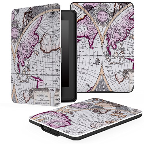 MoKo Case for Kindle Paperwhite, Premium PU Leather Cover with Auto Wake/Sleep Fits All Paperwhite Generations Prior to 2018 (Will not fit All-New Paperwhite 10th Generation), MAP A