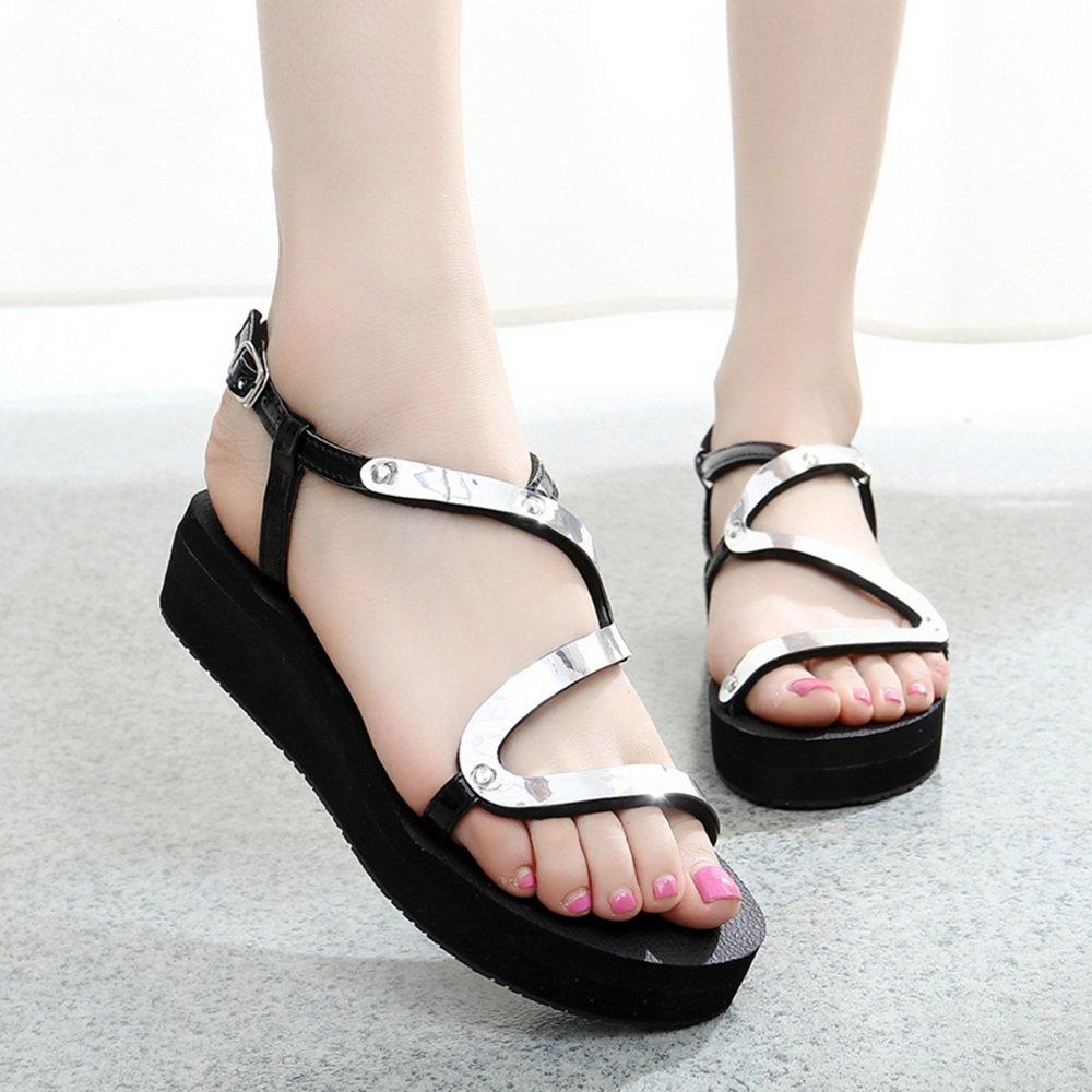 HAIZHEN Frauenschuhe Sommer Flache Sandaleen Fashion Student Schuhe Anti-Rutsch-Schuhe Für Gold/Siliver Für Frauen (Farbe : Silber, größe : 38)