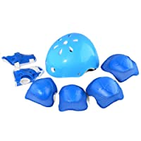 Kids Helmet Set, Lommer 7 Pcs Child Safety Adjustable Helmet with Knee Elbow Wrist Pads for Cycling, Skating, Scooting for Boys and Girls