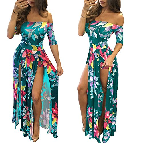 (Romper Split Maxi Dresses Off Shoulder Floral Party Split Long Sleeve Dressy Jumpsuit 2017 Green 2XL)