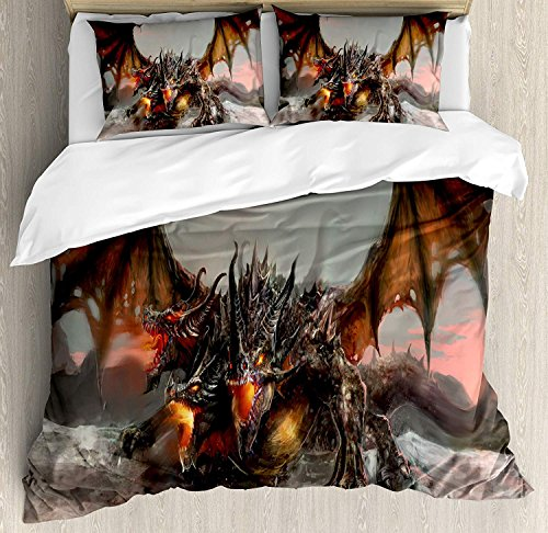 Fantasy World 4 Piece Bedding Set Full Size, Illustration of Three Headed Fire Breathing Dragon Large Monster Gothic Theme, Duvet Cover Set Quilt Bedspread for Childrens/Kids/Teens/Adults, Brown Grey