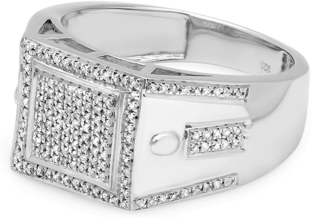 ctw Dazzlingrock Collection 0.35 Carat Sterling Silver Round Cut Diamond Mens Flashy Hip Hop Pinky Ring
