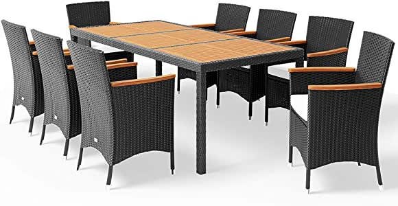 Ratán muebles de jardín mesa de comedor y sillas Set – negro al aire libre Patio de poliratán, rectangular: Amazon.es: Jardín
