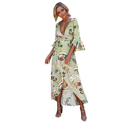 Angelof Robe de Plage Longue Imprimé Femme Robe de Nuit Florale Bohème Soirée Longue Maxi Blouse Manches Courtes à Volant Décolleté Fantaisie