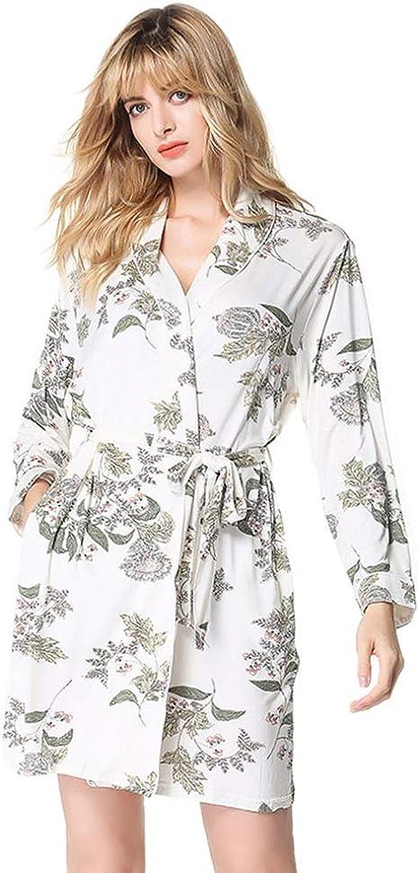 YANXH Albornoz Kimono De Algodón para Mujer Bata Baño De Manga Larga con Estampado De Solapa De Punto Suaves para Pijama para Baño De SPA Casual, Color Sólido,M: Amazon.es: Deportes y aire