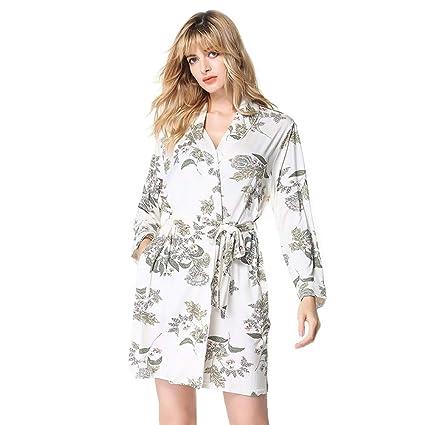 YANXH Albornoz Kimono De Algodón para Mujer Bata Baño De Manga Larga con Estampado De Solapa