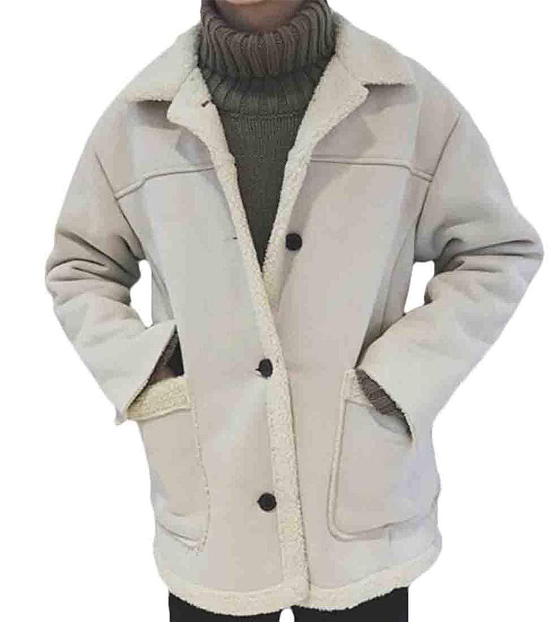 X-Future Mens Outerwear Fleece Faux Suede Sherpa Lined Jacket Thick Winter Loose Coat