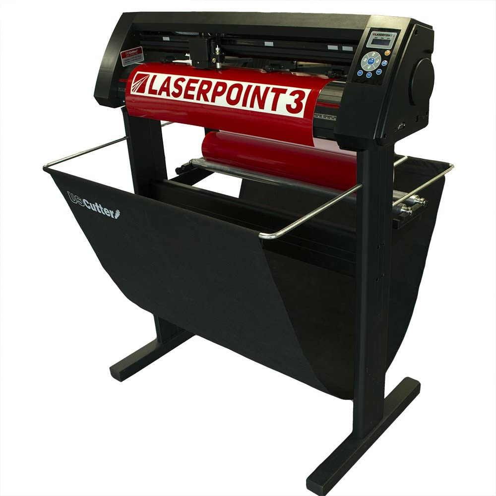 "New 28"" USCutter LaserPoint 3 (LP3) Vinyl Cutter with ARMS Contour Cutting, Stand and Basket"