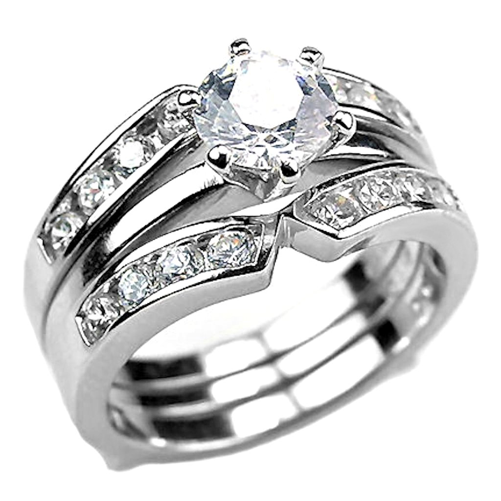 Amazon Sterling Silver 22ct Russian Ice On Fire Cz 2 Pc Wedding Ring Set With Guard Holly Jewelry: 2 Pc Wedding Ring Sets At Reisefeber.org