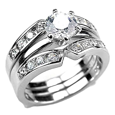 Sterling Silver 22ct Russian Ice On Fire CZ 2 Pc Wedding Ring Set With