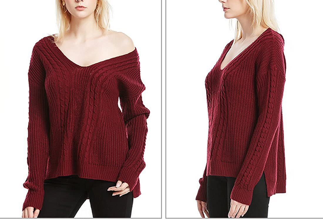 Szolno V-neck Solid Color Pullover Casual Short Knit Coat Sweaters for Women Lady
