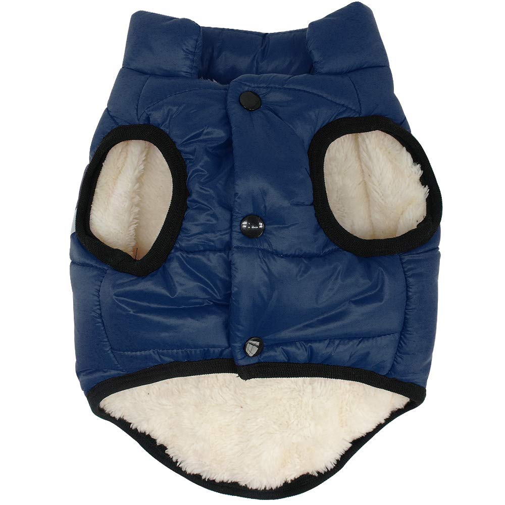 bluee XS  chest-15\ bluee XS  chest-15\ Didog Warm Fleece Dog Winter Coat, Reflective Puppy Vest Jackets, Soft Dog Fleece Clothes for Small Medium Dogs, bluee XS Size
